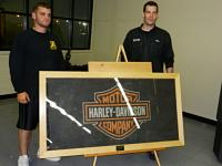 Andrew presents Harley flag